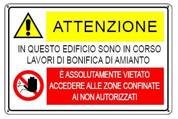 cartello segnaletico bonifica amianto