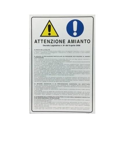 """Cartello Segnaletico """"Attenzione Amianto"""""""
